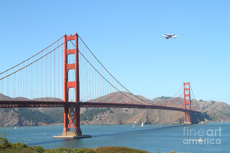 Nasa Space Shuttles Final Hurrah Over The San Francisco Golden Gate Bridge Photograph  - Nasa Space Shuttles Final Hurrah Over The San Francisco Golden Gate Bridge Fine Art Print