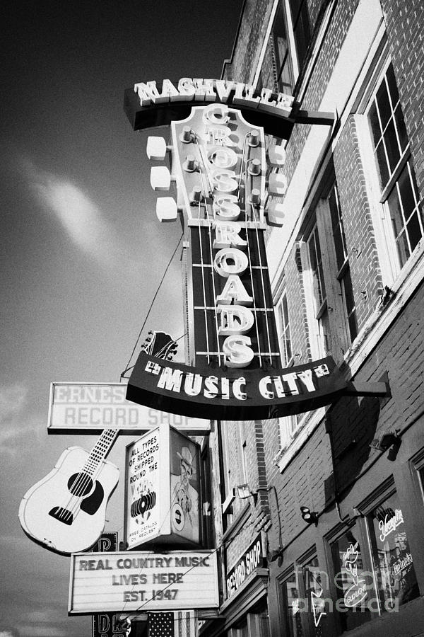 nashville crossroads music city ernest tubbs record shop on broadway downtown Nashville Tennessee US Photograph  - nashville crossroads music city ernest tubbs record shop on broadway downtown Nashville Tennessee US Fine Art Print