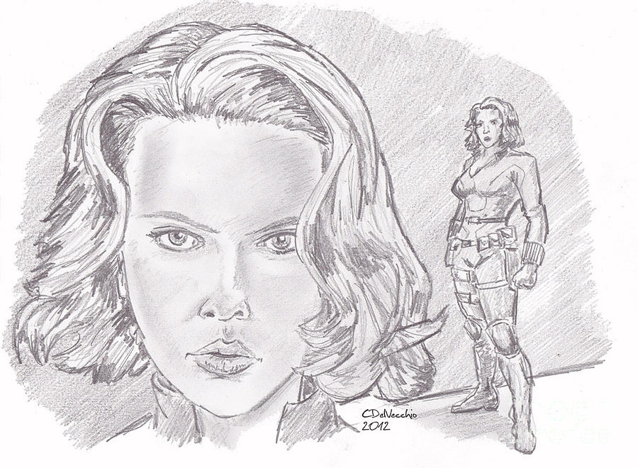 Drawing - Natasha Romanova- Black Widow by Chris  DelVecchio