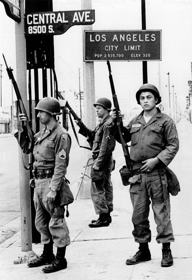 National Guardsmen At A Los Angeles Photograph  - National Guardsmen At A Los Angeles Fine Art Print