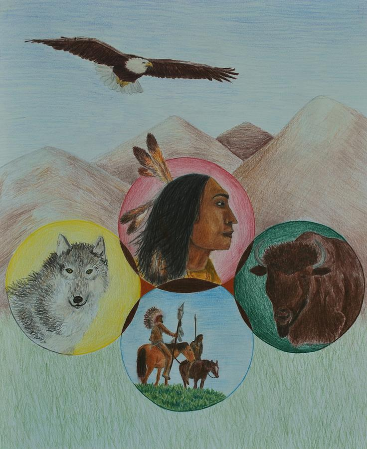 Native American Circle Of Life Drawing  - Native American Circle Of Life Fine Art Print