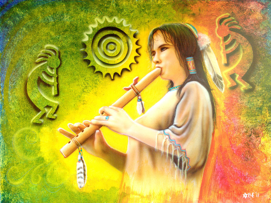 Native American Flute Player Painting  - Native American Flute Player Fine Art Print