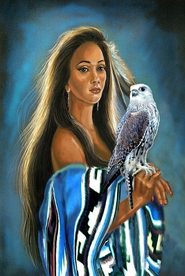 Native American Maiden With Falcon Painting  - Native American Maiden With Falcon Fine Art Print