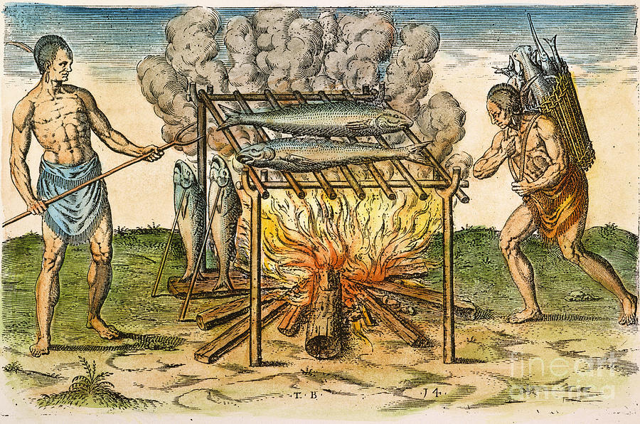 Native Americans: Barbecue, 1590 Photograph  - Native Americans: Barbecue, 1590 Fine Art Print
