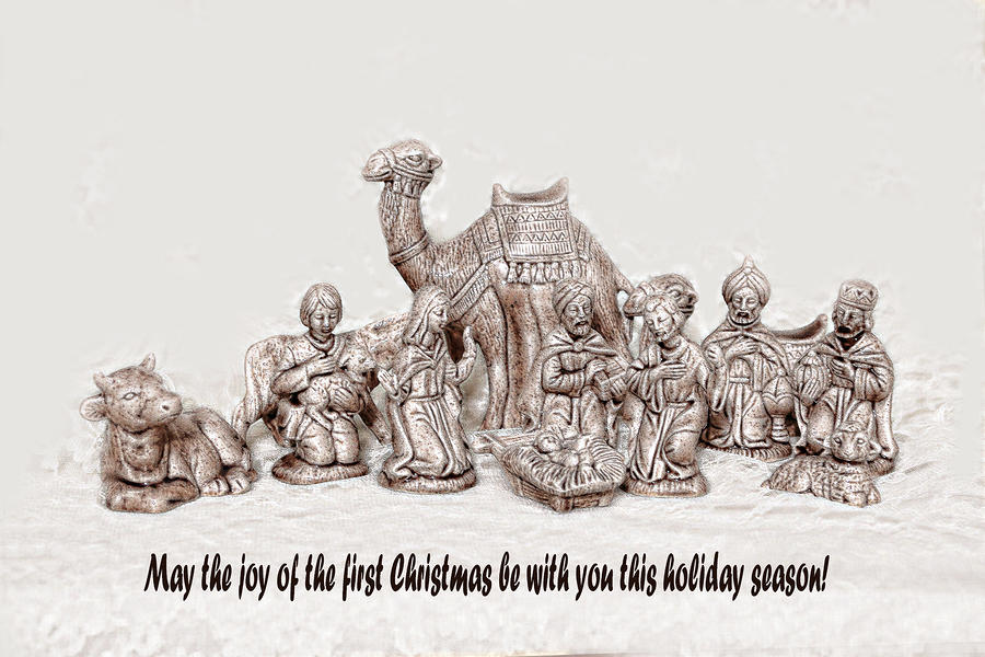 Nativity Scene In Sepia Photograph