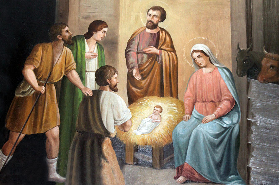 Nativity Scene Painting At Nativity Church Photograph  - Nativity Scene Painting At Nativity Church Fine Art Print
