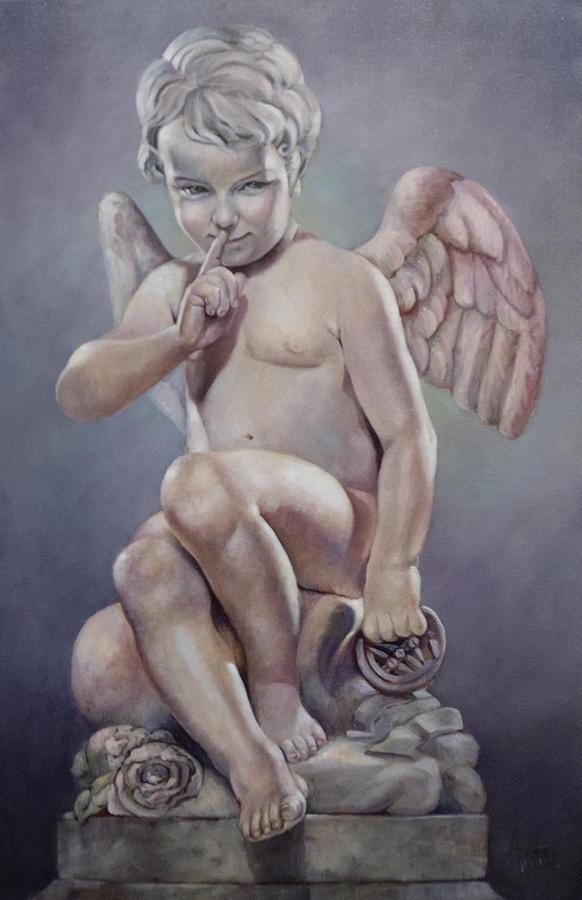 Cupid Painting - Naughty Cupid by Geraldine Arata