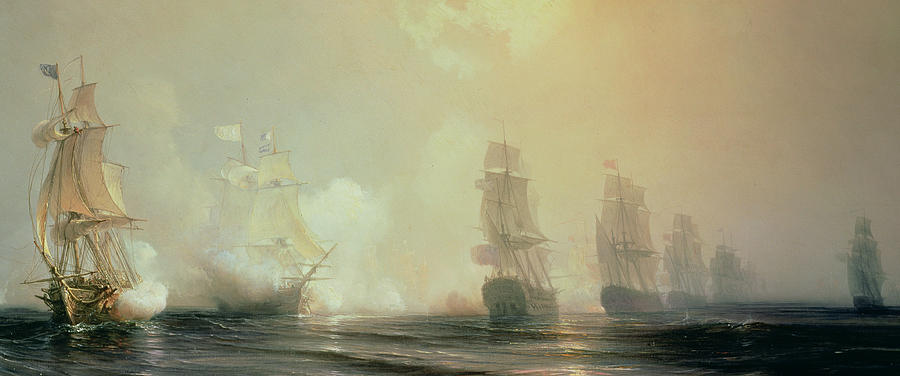 Naval Battle In Chesapeake Bay Painting  - Naval Battle In Chesapeake Bay Fine Art Print