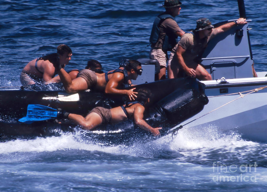 Navy Seals Practice High Speed Boat Photograph  - Navy Seals Practice High Speed Boat Fine Art Print