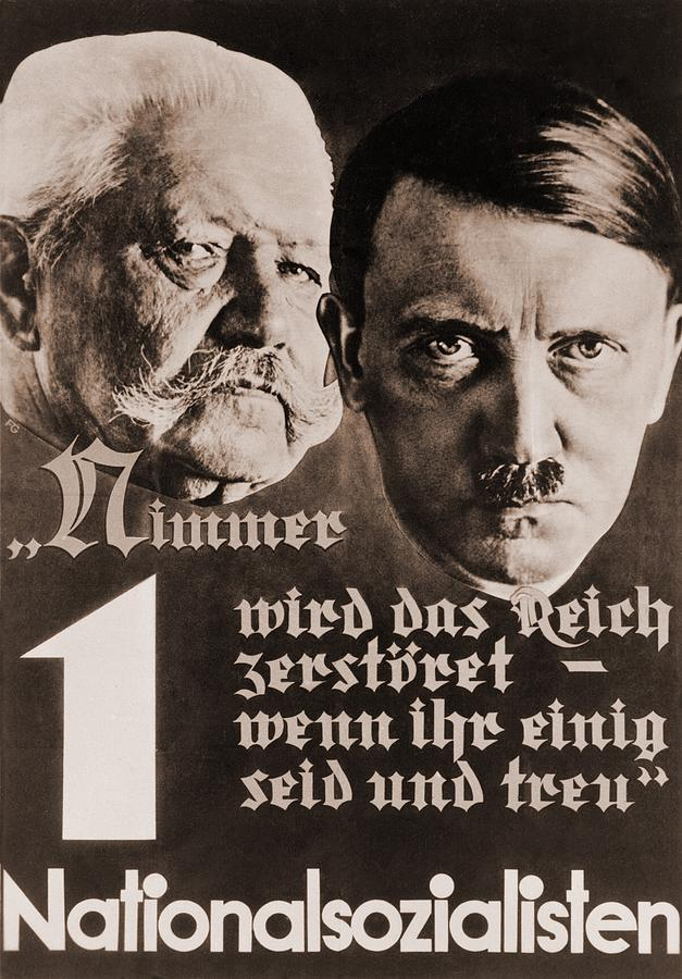 Nazi Poster With Images Of Adolf Hitler Photograph  - Nazi Poster With Images Of Adolf Hitler Fine Art Print
