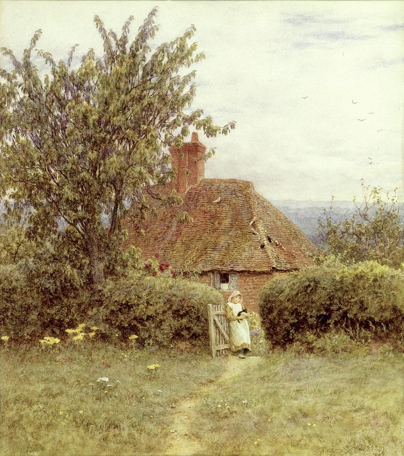 Cottage; Child; Gate; Rural Scene; Country; Countryside; Home; House; Kitten; Path; Wildflowers; Picturesque; Idyllic; Female Painting - Near Haslemere by Helen Allingham