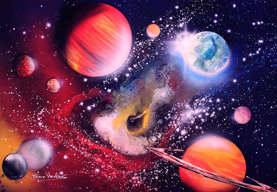 Space Art Painting - Nebula Guards by Tony Vegas