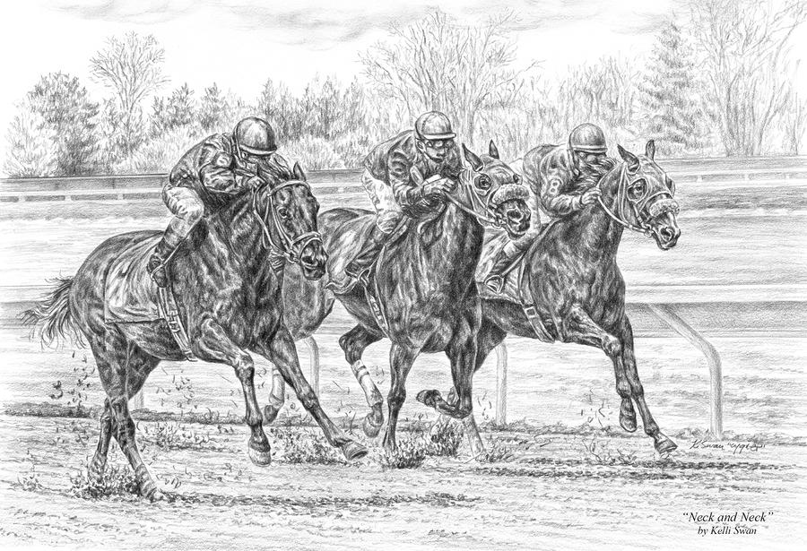 Neck And Neck - Horse Racing Art Print Drawing