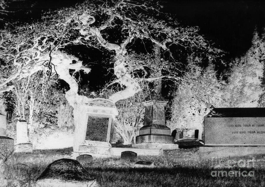 Negative Image Of Cemetary Photograph
