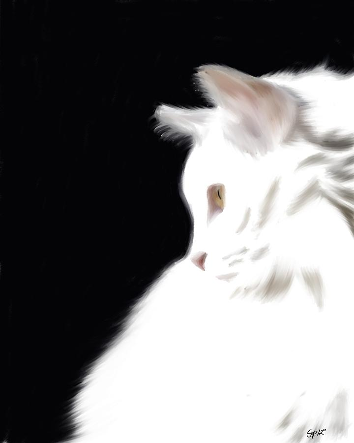 Negative Space Kitty Digital Art