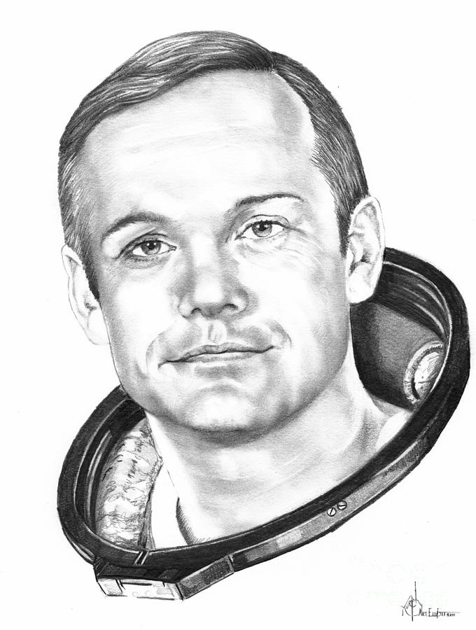 Drawing Drawing - Neil Armstrong by Murphy Elliott