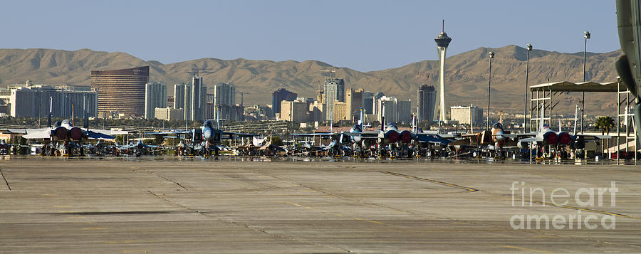 Nellis And Las Vegas Skyline is a photograph by Tim Mulina which was ...