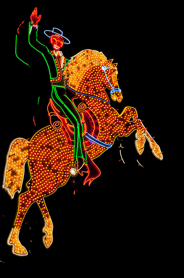 Cowboy Photograph - Neon Cowboy Las Vegas by Garry Gay