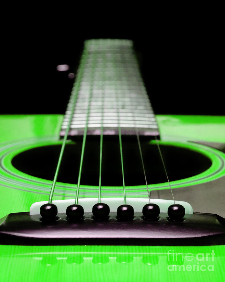 Neon Green Guitar 18 Photograph