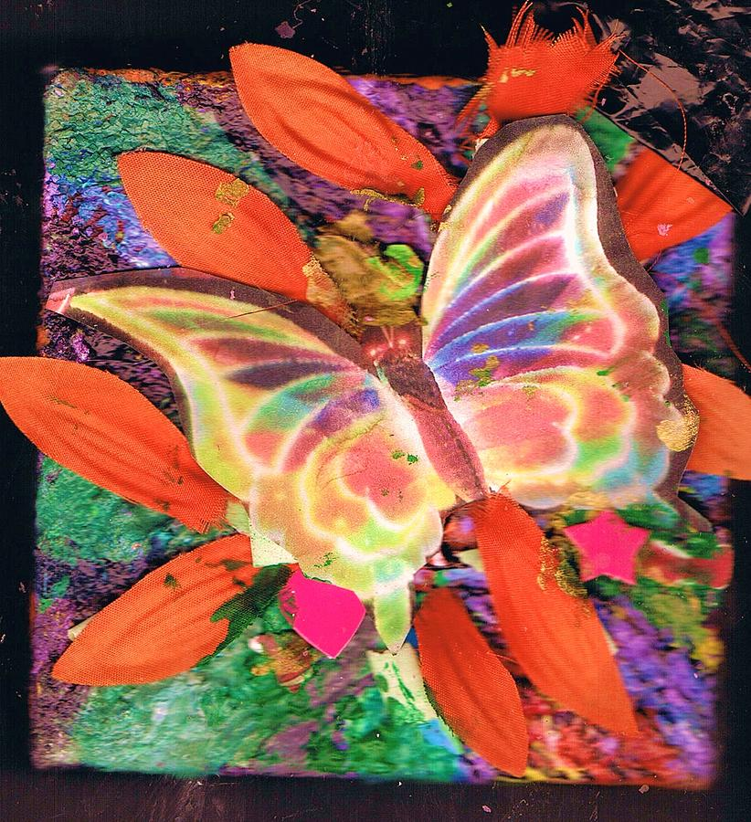 Neon Lights Butterfly On Boxed Canvas Mixed Media