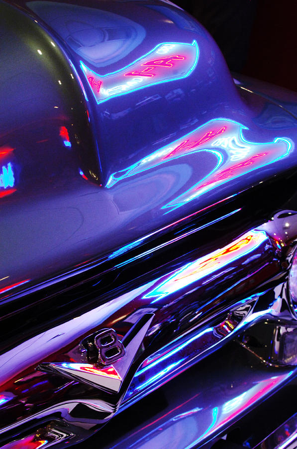 Neon Reflections - Ford V8 Photograph