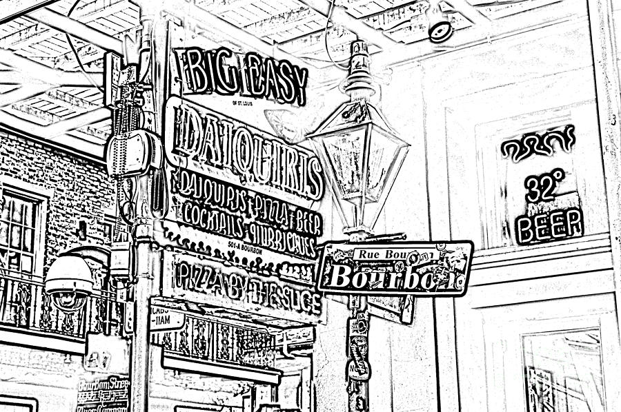 Neon Sign On Bourbon Street Corner French Quarter New Orleans Black And White Photocopy Digital Art Digital Art  - Neon Sign On Bourbon Street Corner French Quarter New Orleans Black And White Photocopy Digital Art Fine Art Print