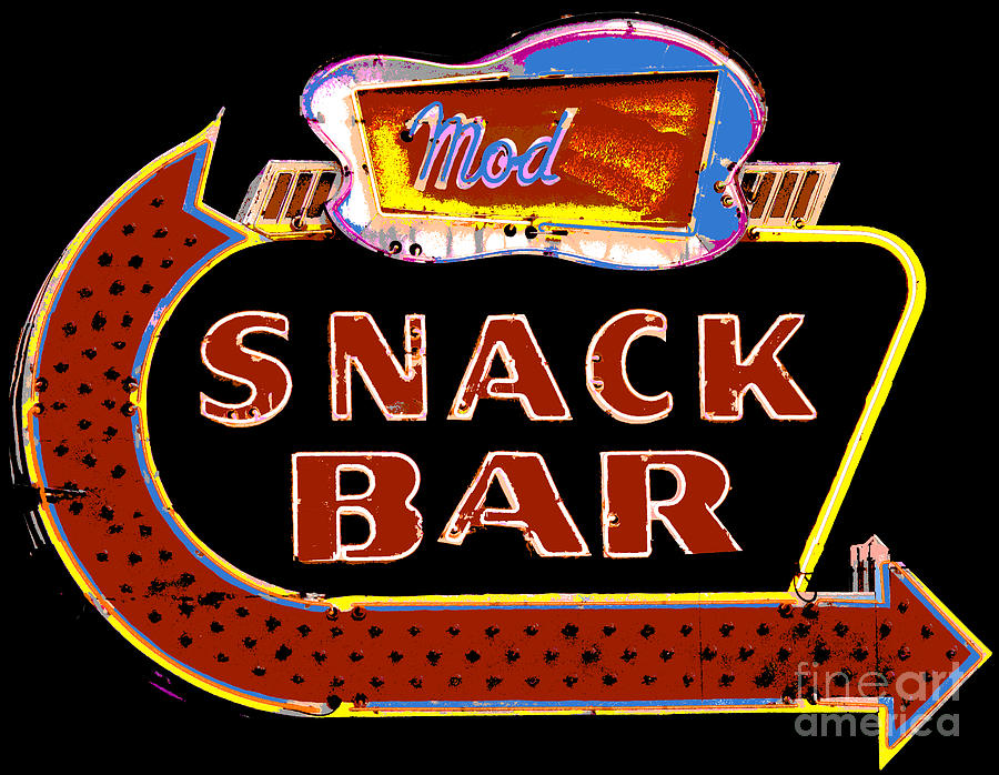 Neon Vintage Snack Bar Sign Mixed Media  - Neon Vintage Snack Bar Sign Fine Art Print