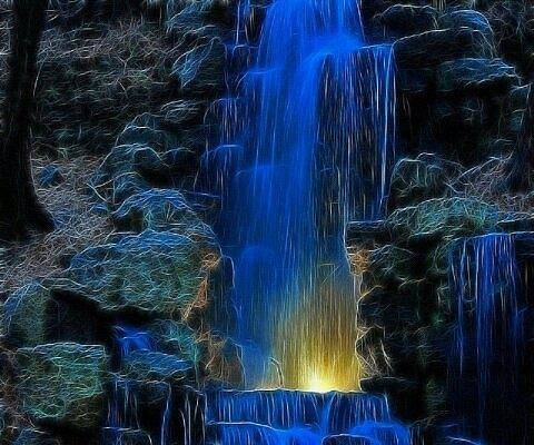 Neon Waterfall Painting