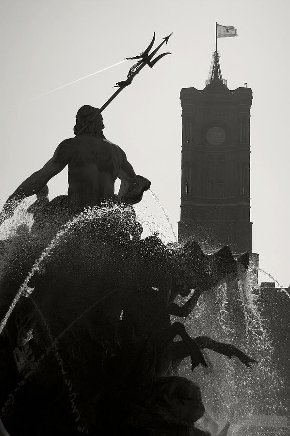 Neptune Fountain And Rotes Rathaus Tower Photograph  - Neptune Fountain And Rotes Rathaus Tower Fine Art Print