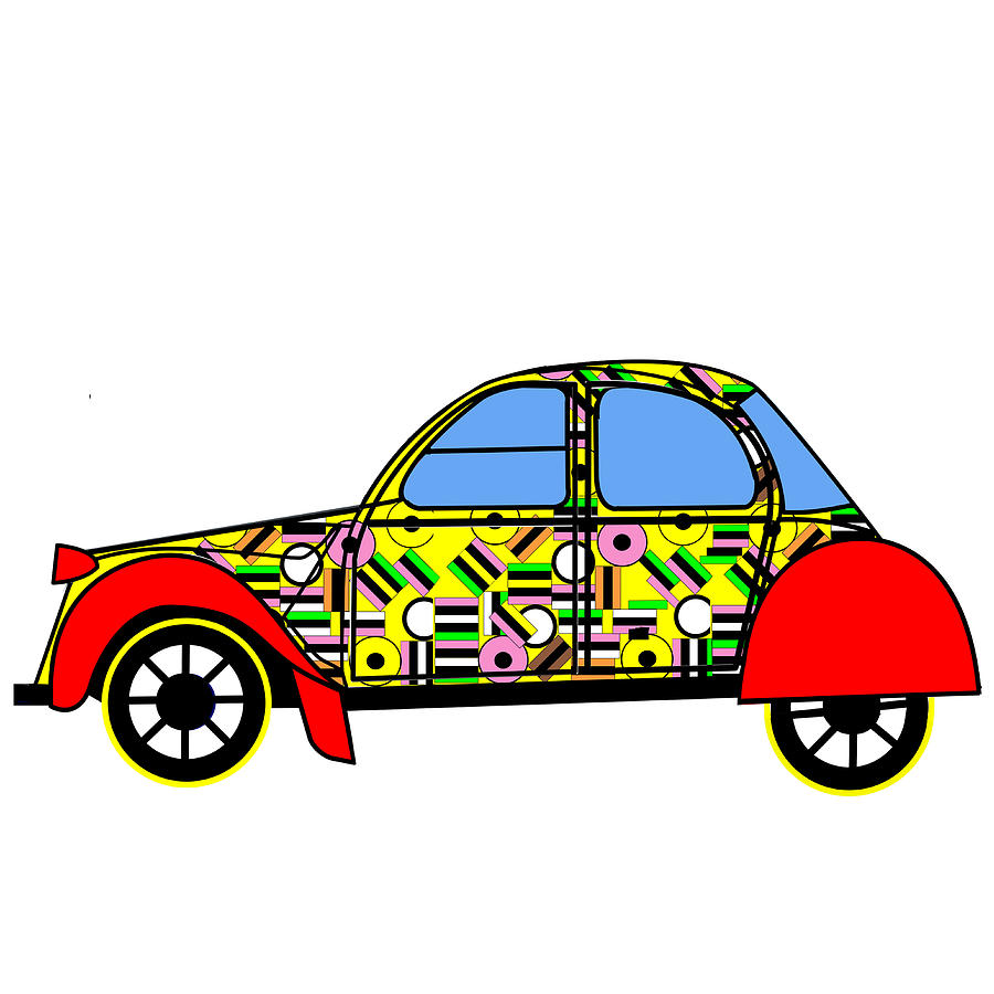 Liquorice All-sorts Digital Art - Nerds Car - Virtual Cars by Asbjorn Lonvig