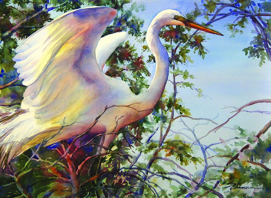 Nesting Egret Painting