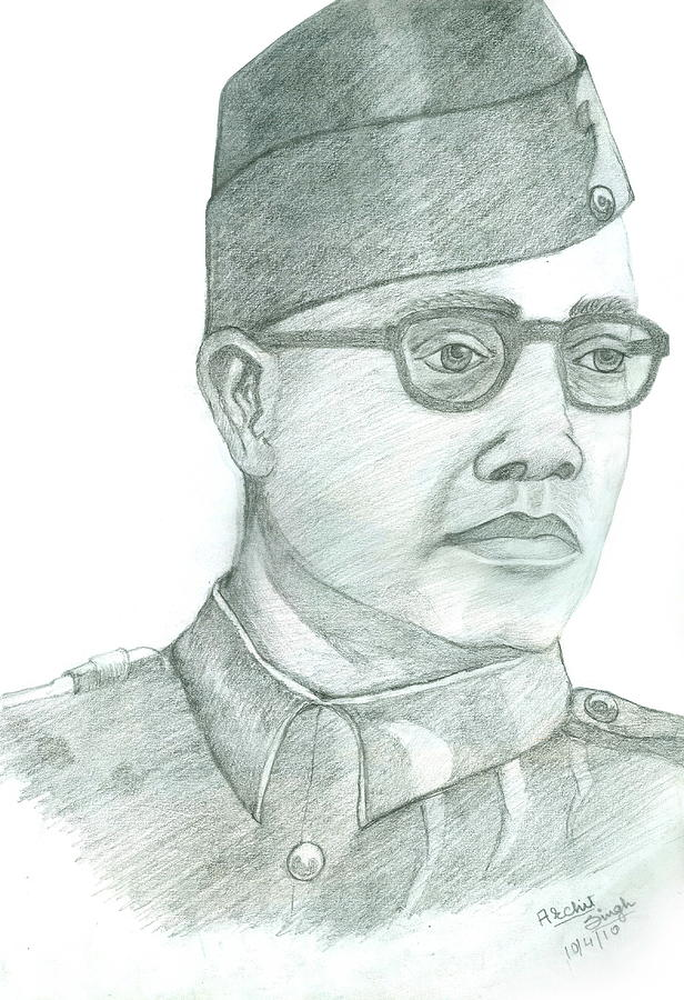 Netaji Subhash Chandra Bose Drawing  - Netaji Subhash Chandra Bose Fine Art Print