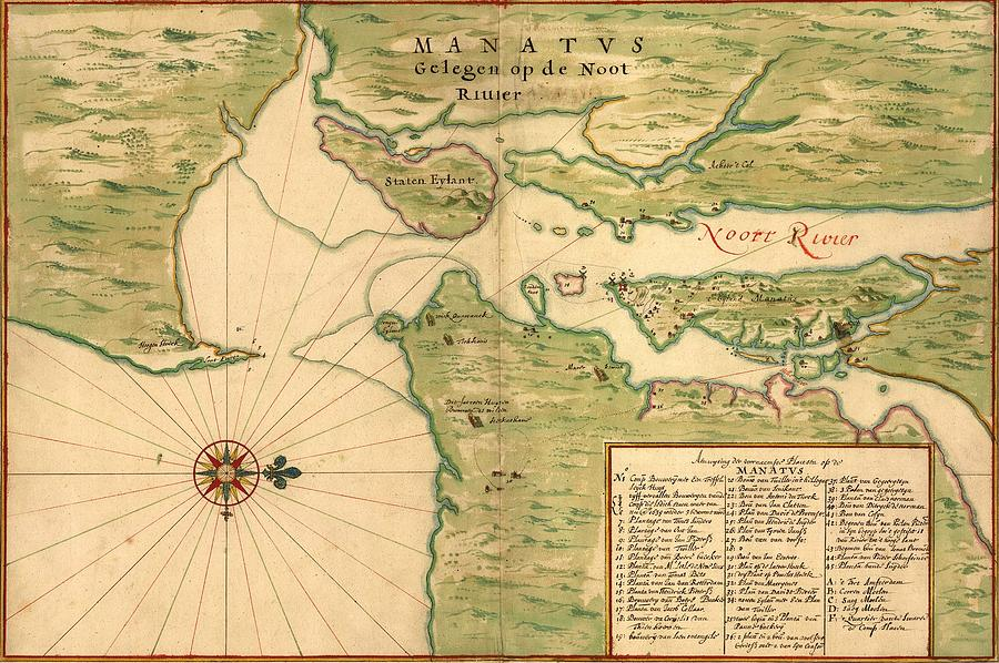 New Amsterdam In 1639. Earliest Map Photograph