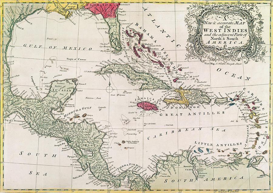 New And Accurate Map Of The West Indies Drawing