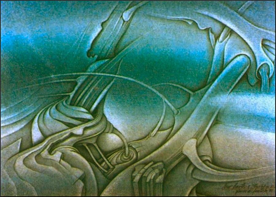 New Earth Drawing - New Earth2 1992 by Glenn Bautista