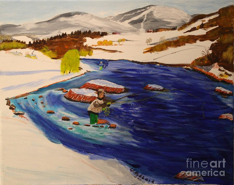 New Hampshire Springtime - Skiing And Trout Fishing In The White Mountains Painting
