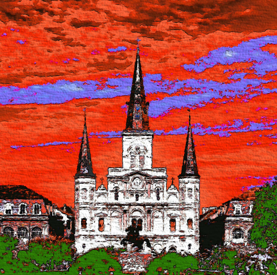 New Orleans Cathedral Fauvist Colors Painting: new orleans paint colors