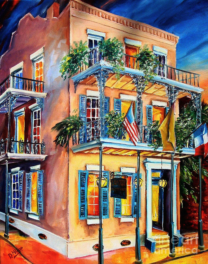 New Orleans La Fittes Guest House Painting  - New Orleans La Fittes Guest House Fine Art Print