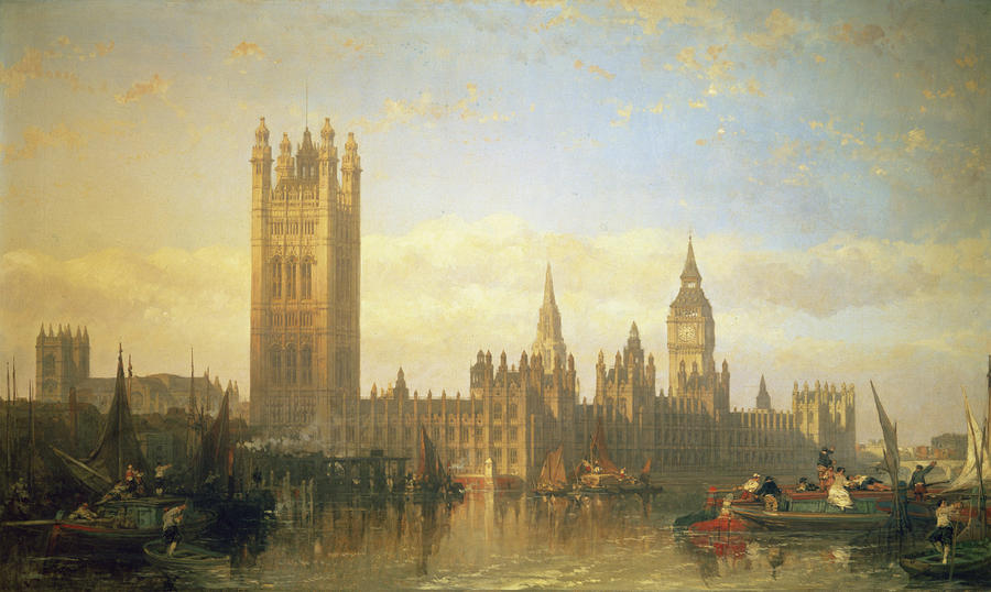 New Palace Of Westminster From The River Thames Painting