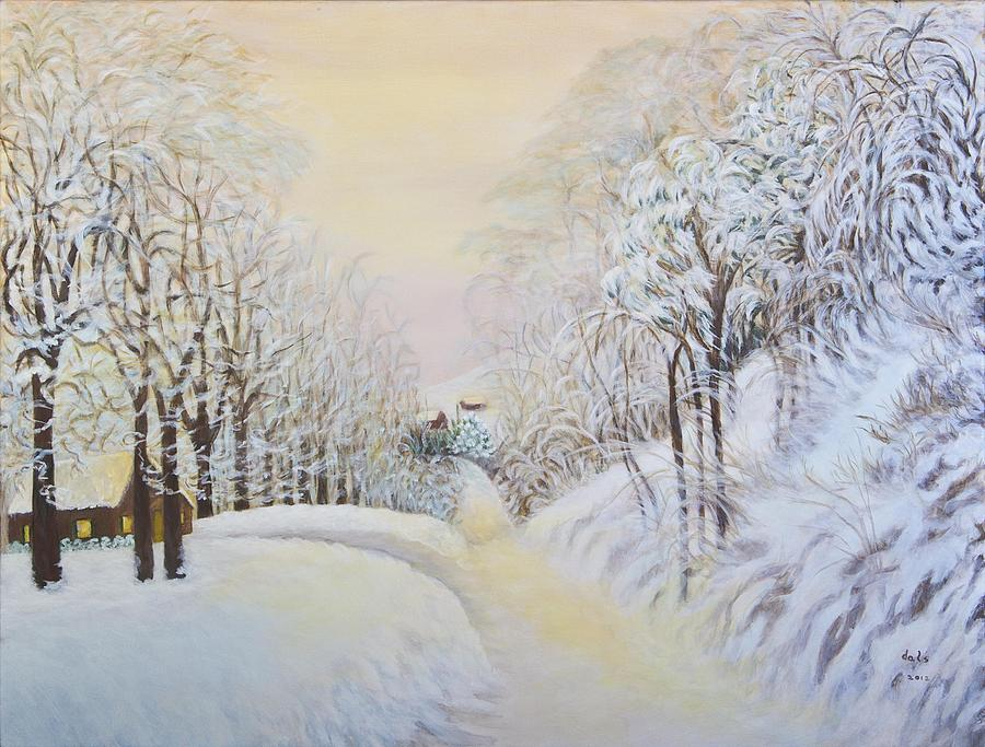 New Snow In Hunting Hills Painting  - New Snow In Hunting Hills Fine Art Print