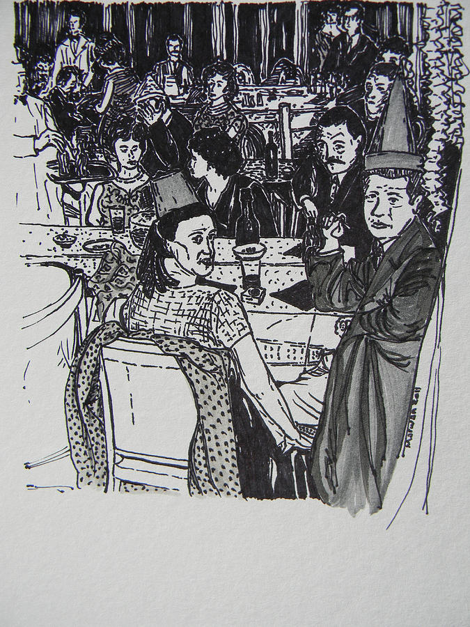 New Years Eve 1950s Drawing