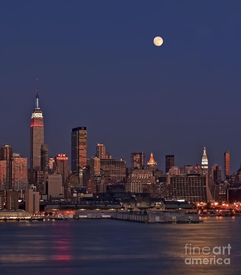 New York City Moonrise  Photograph  - New York City Moonrise  Fine Art Print