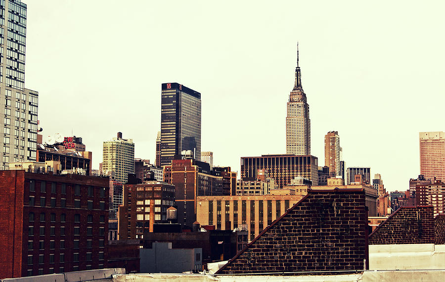 New York City Rooftops And The Empire State Building Photograph  - New York City Rooftops And The Empire State Building Fine Art Print