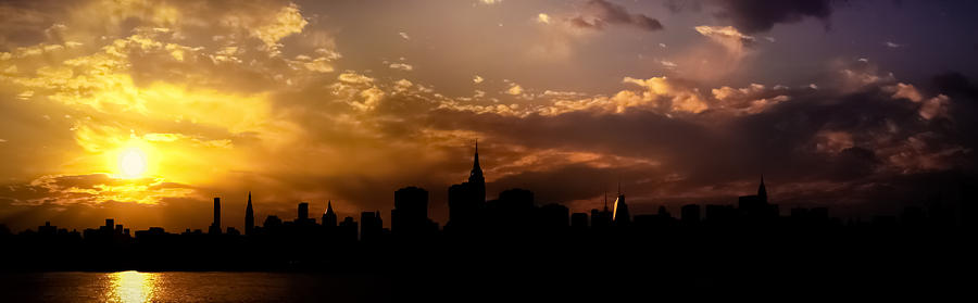 New York City Skyline At Sunset Panorama Photograph  - New York City Skyline At Sunset Panorama Fine Art Print
