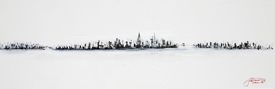 New York City Skyline Black And White Painting