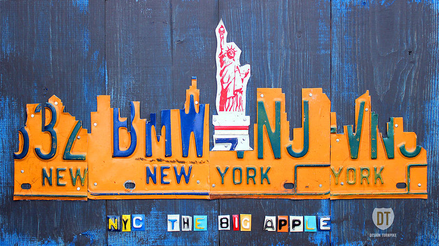 New York City Skyline License Plate Art Mixed Media  - New York City Skyline License Plate Art Fine Art Print