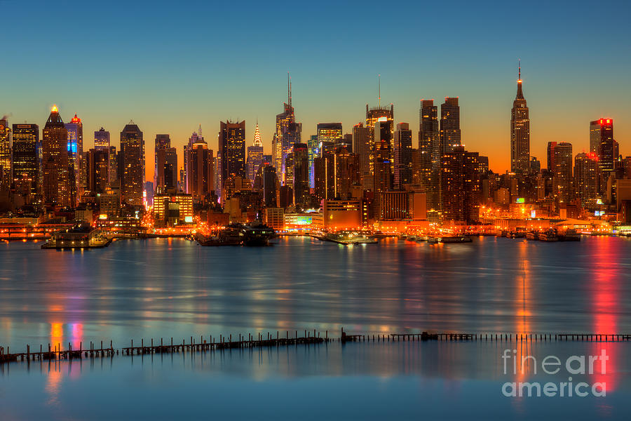 New York City Skyline Morning Twilight V Photograph  - New York City Skyline Morning Twilight V Fine Art Print