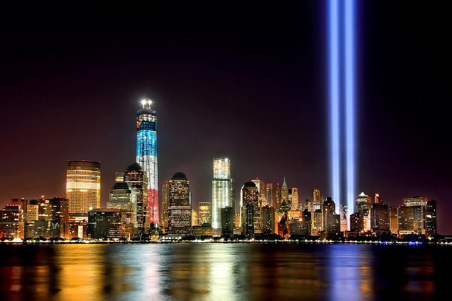 New York City Skyline Tribute In Lights And Lower Manhattan At Night Nyc Photograph