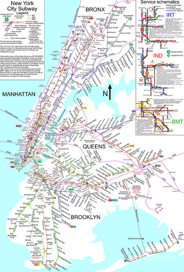 New York City Subway Map By Pg Reproductions