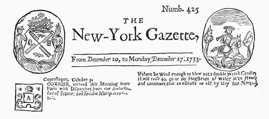 New York Gazette, 1733 Photograph  - New York Gazette, 1733 Fine Art Print